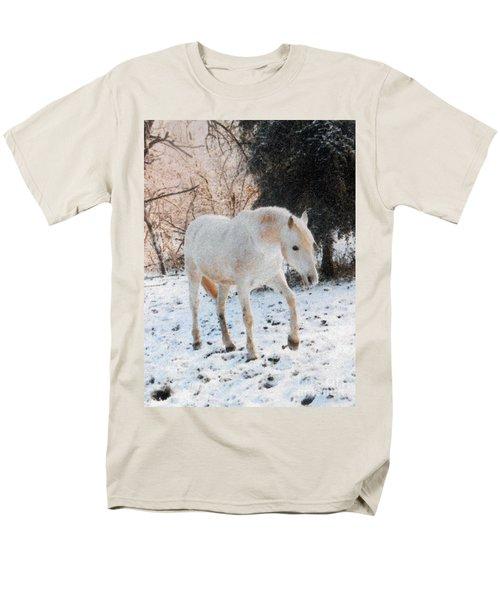 The White Stallion's Winter Walk Men's T-Shirt  (Regular Fit) by Patricia Keller