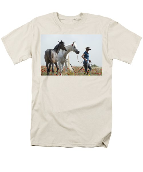 Men's T-Shirt  (Regular Fit) featuring the photograph Three At The Poppies' Field... 1 by Dubi Roman