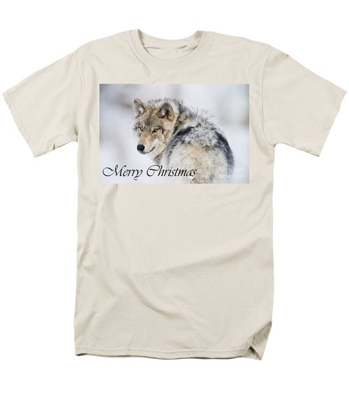 Timber Wolf Christmas Card 2 Men's T-Shirt  (Regular Fit) by Michael Cummings