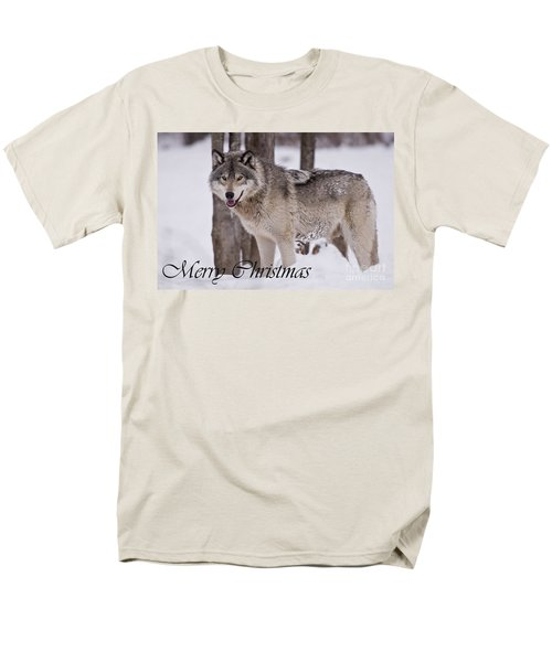 Timber Wolf Christmas Card English 3 Men's T-Shirt  (Regular Fit) by Wolves Only