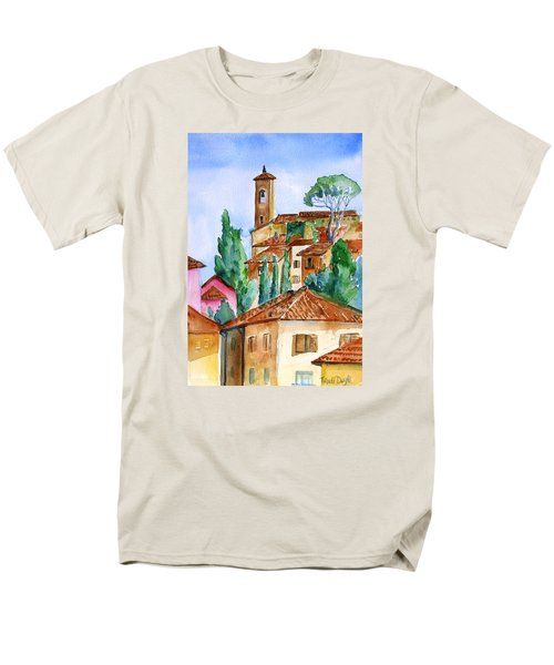 Men's T-Shirt  (Regular Fit) featuring the painting Tuscan Rooftops  -montecatini Alto by Trudi Doyle