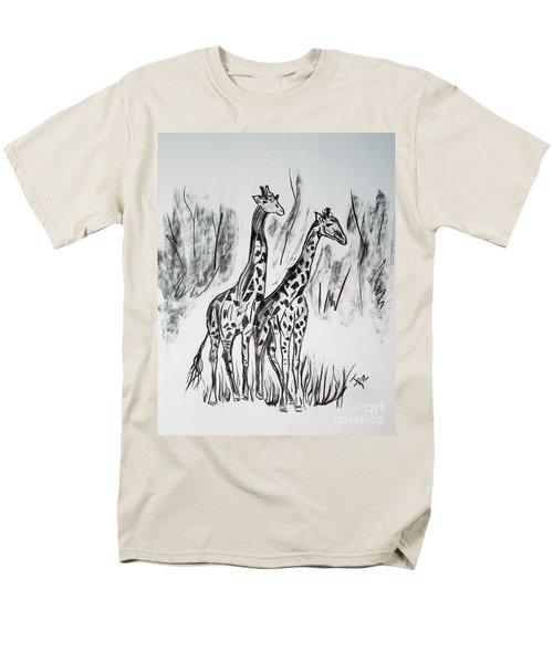 Men's T-Shirt  (Regular Fit) featuring the drawing Two Giraffe's In Graphite by Janice Rae Pariza
