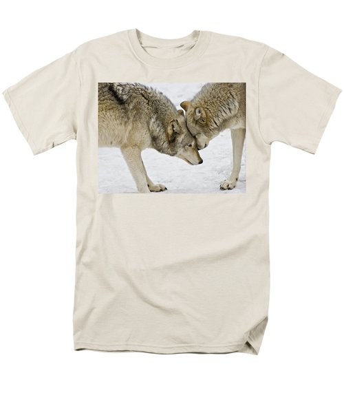 Two Wolves In  A Staredown Men's T-Shirt  (Regular Fit)