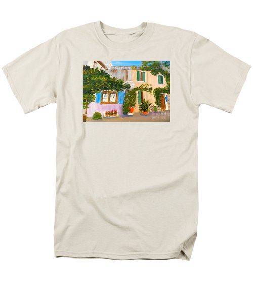 Men's T-Shirt  (Regular Fit) featuring the painting Umbera Courtyard by Pamela  Meredith