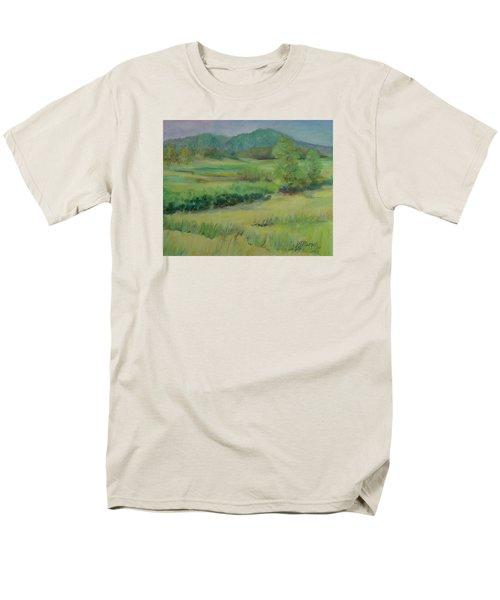 Valley Ranch Rural Western Landscape Painting Oregon Art  Men's T-Shirt  (Regular Fit) by Elizabeth Sawyer