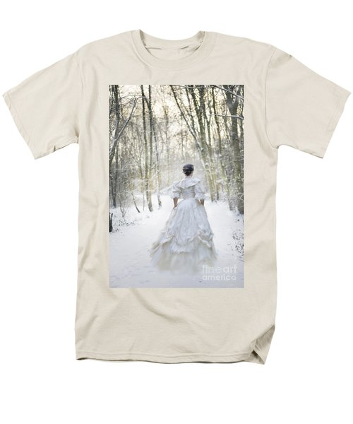 Victorian Woman Running Through A Winter Woodland With Fallen Sn Men's T-Shirt  (Regular Fit) by Lee Avison