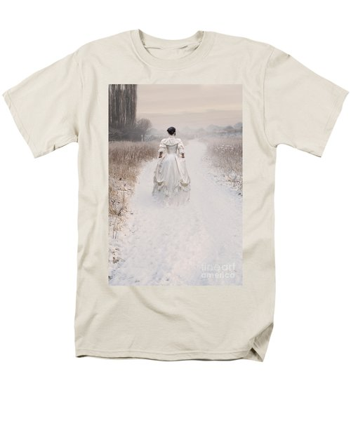 Victorian Woman Walking Through A Winter Meadow Men's T-Shirt  (Regular Fit) by Lee Avison