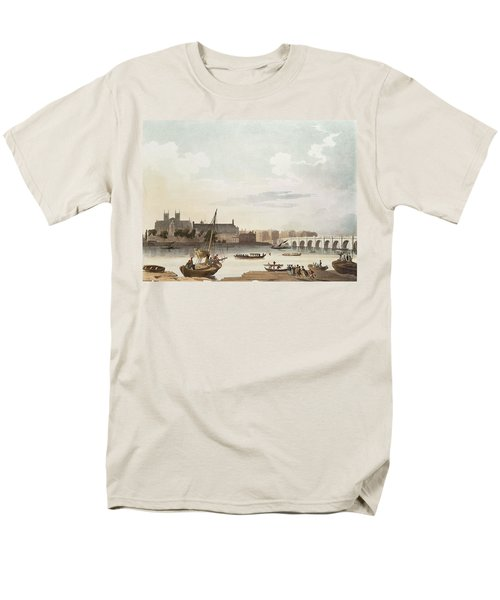 View Of Westminster And The Bridge Wc On Paper Men's T-Shirt  (Regular Fit) by English School