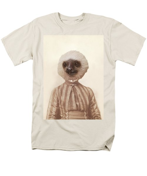 Vintage Sloth Girl Portrait Men's T-Shirt  (Regular Fit) by Brooke T Ryan