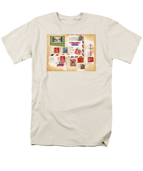 Men's T-Shirt  (Regular Fit) featuring the photograph Vintage Stamps On Old Postcard by Vizual Studio
