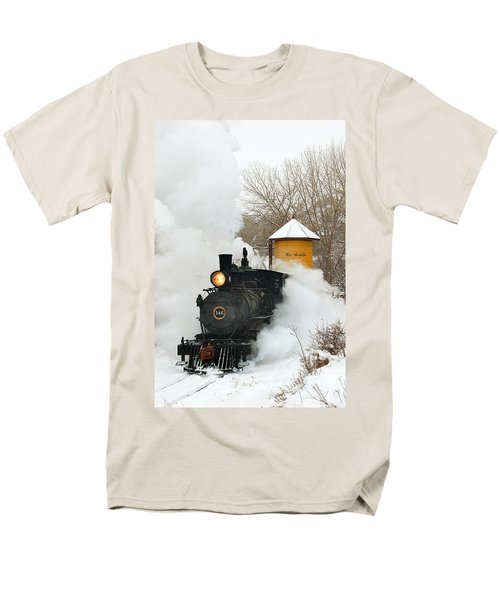Water Tower Behind The Steam Men's T-Shirt  (Regular Fit) by Ken Smith
