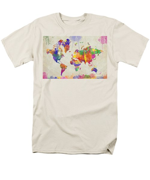Watercolor Impression World Map Men's T-Shirt  (Regular Fit)