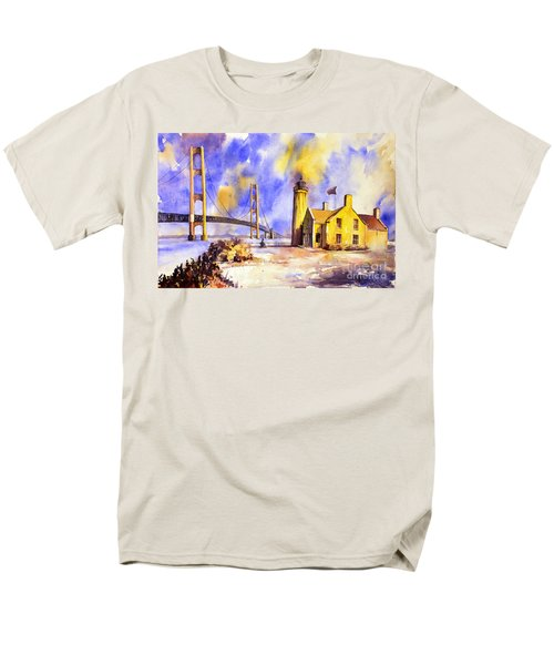 Watercolor Painting Of Ligthouse On Mackinaw Island- Michigan Men's T-Shirt  (Regular Fit)