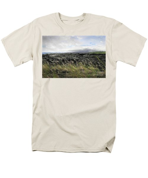 Men's T-Shirt  (Regular Fit) featuring the photograph Waves Of Clouds Sea Lava And Grass by Ellen Cotton
