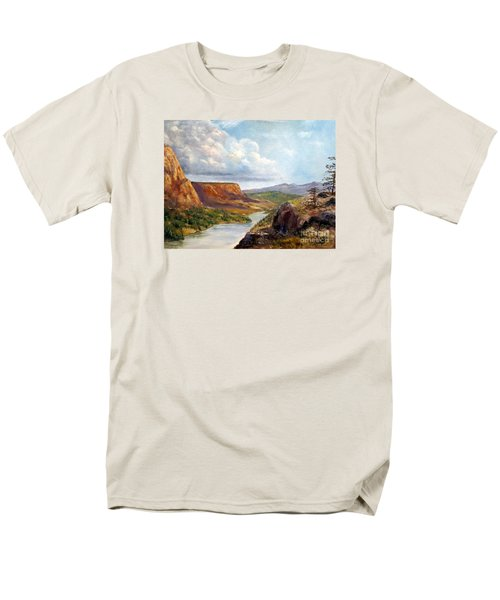Men's T-Shirt  (Regular Fit) featuring the painting Western River Canyon by Lee Piper