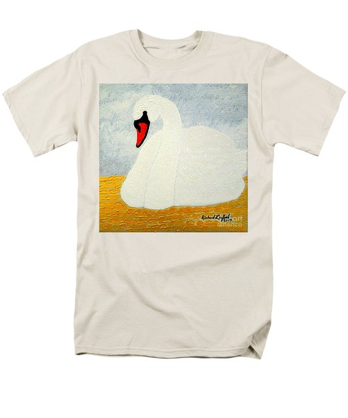 Men's T-Shirt  (Regular Fit) featuring the painting White Swan Lake by Richard W Linford