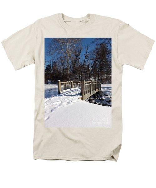 Winter At Creekside Men's T-Shirt  (Regular Fit) by Sara  Raber
