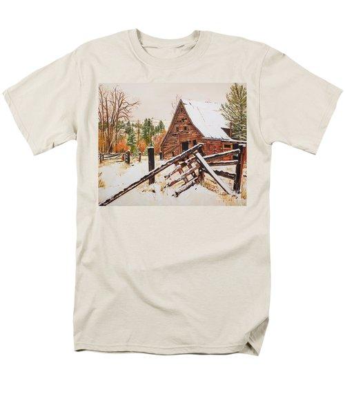Winter - Barn - Snow In Nevada Men's T-Shirt  (Regular Fit) by Jan Dappen