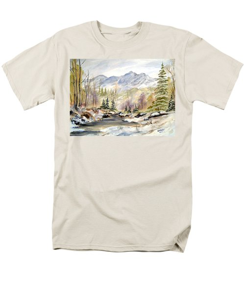 Men's T-Shirt  (Regular Fit) featuring the painting Winter On The River by Dorothy Maier