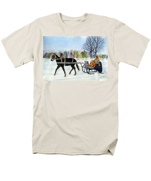 Men's T-Shirt  (Regular Fit) featuring the painting Winter Sleigh Ride by Carol Flagg