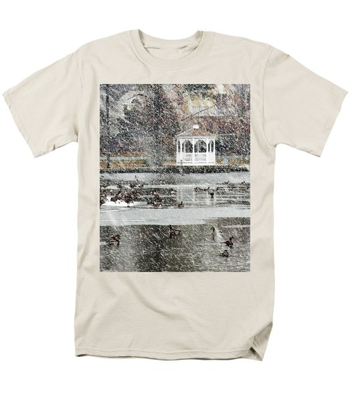 Wintering Geese On Silver Lake Men's T-Shirt  (Regular Fit)