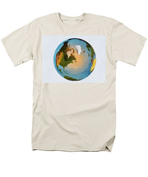 Men's T-Shirt  (Regular Fit) featuring the painting World 3d Globe by Georgi Dimitrov