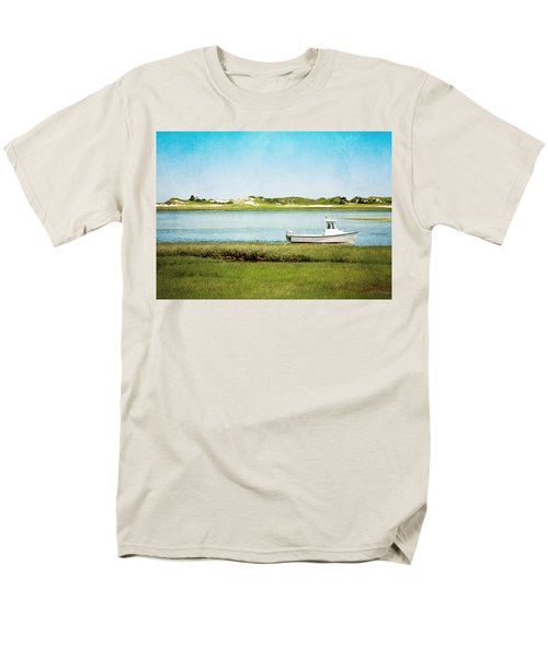 Men's T-Shirt  (Regular Fit) featuring the photograph Yarmouth Port Fishing Boat In Green And Blue by Brooke T Ryan