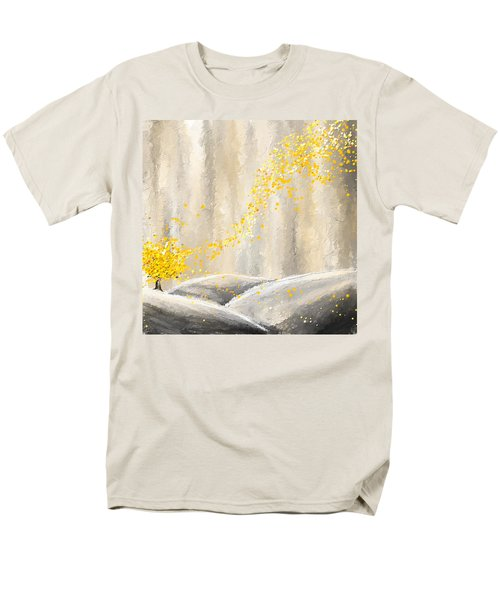Yellow And Gray Landscape Men's T-Shirt  (Regular Fit) by Lourry Legarde