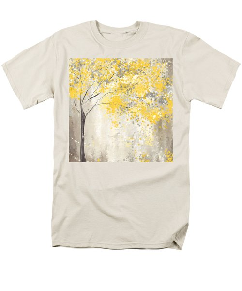 Yellow And Gray Tree Men's T-Shirt  (Regular Fit) by Lourry Legarde