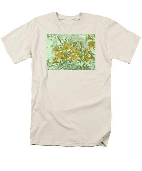 Men's T-Shirt  (Regular Fit) featuring the photograph Yellow Stargazers On Soft Green by Tom Wurl