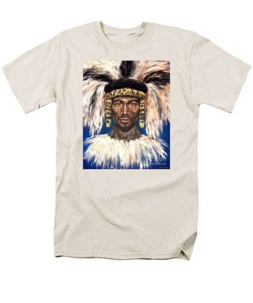 Men's T-Shirt  (Regular Fit) featuring the painting Zulu Warrior by Arturas Slapsys