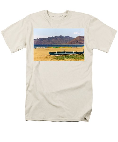 Boats On South China Sea Beach Men's T-Shirt  (Regular Fit) by Amelia Racca