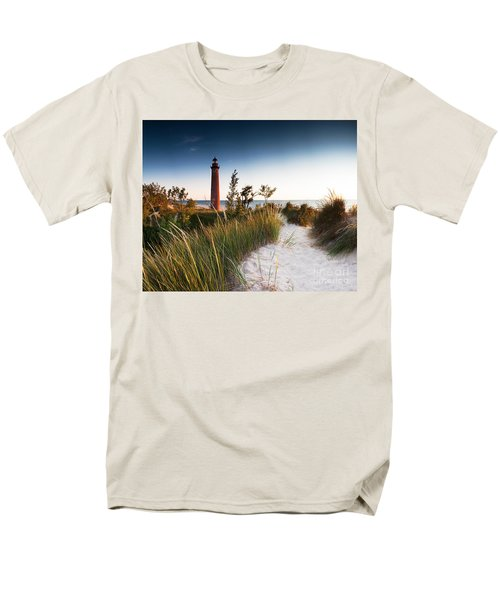 Little Sable Point Light Station Men's T-Shirt  (Regular Fit) by Larry Carr