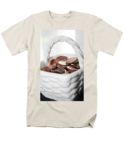 Men's T-Shirt  (Regular Fit) featuring the photograph A Basket Of Pennies by Ester  Rogers