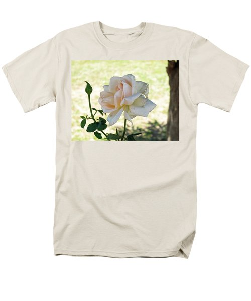 Men's T-Shirt  (Regular Fit) featuring the photograph A Beautiful White And Light Pink Rose Along With A Bud by Ashish Agarwal