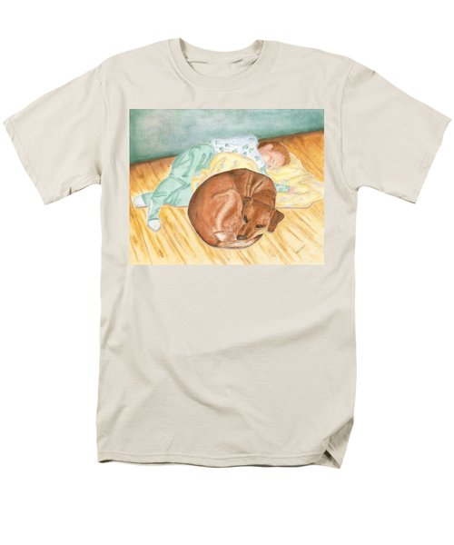 Men's T-Shirt  (Regular Fit) featuring the painting A Dog And Her Boy by Arlene Crafton