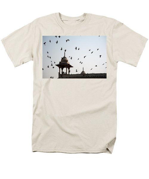 Men's T-Shirt  (Regular Fit) featuring the photograph A Whole Flock Of Pigeons On The Top Of The Ramparts Of The Red Fort In New Delhi by Ashish Agarwal