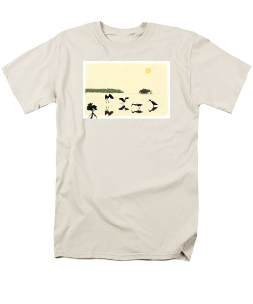 Men's T-Shirt  (Regular Fit) featuring the photograph birds feeding in the Everglades by Dan Friend