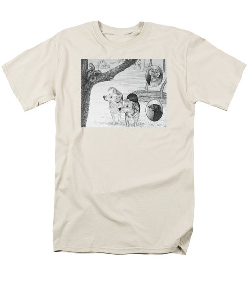 Four Dogs And A Squirrel Men's T-Shirt  (Regular Fit) by Mike Ivey