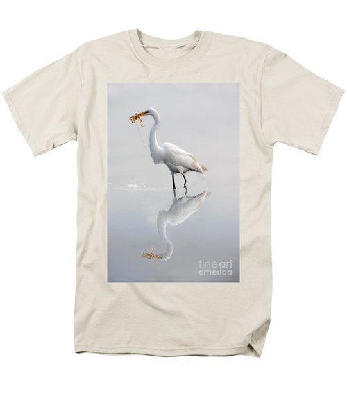 Men's T-Shirt  (Regular Fit) featuring the photograph Great Egret With Lunch by Dan Friend