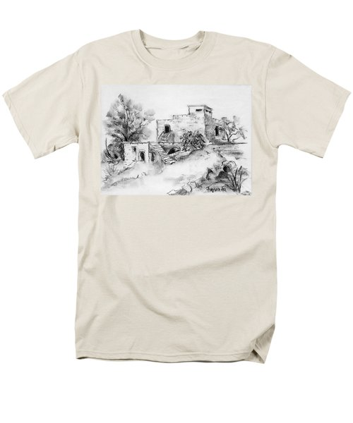 Hirbe Landscape In Afek Black And White Old Building Ruins Trees Bricks And Stairs Men's T-Shirt  (Regular Fit) by Rachel Hershkovitz