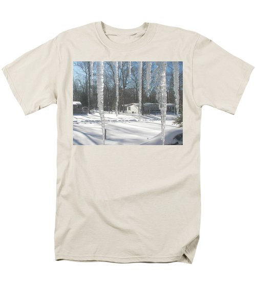 Men's T-Shirt  (Regular Fit) featuring the photograph Icicles Through The Window Glass by Pamela Hyde Wilson