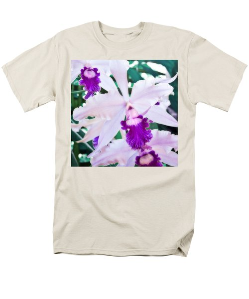 Men's T-Shirt  (Regular Fit) featuring the photograph Orchids White And Purple by Steven Sparks
