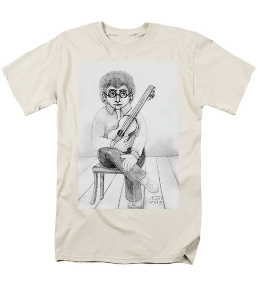 Russian Guitarist Black And White Art Eyeglasses Long Curly Hair Tie Chin Shirt Trousers Shoes Chair Men's T-Shirt  (Regular Fit) by Rachel Hershkovitz
