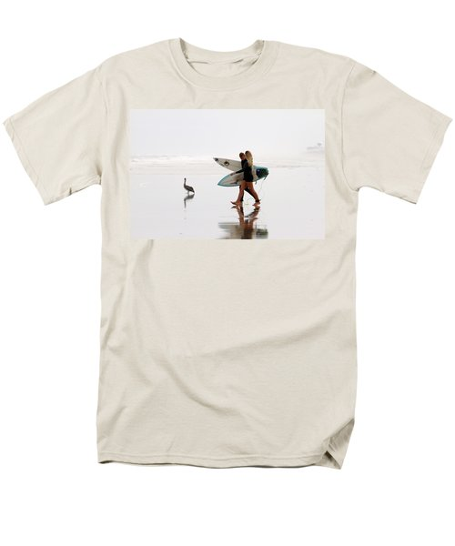 Men's T-Shirt  (Regular Fit) featuring the photograph Surfers And A Pelican by Alice Gipson