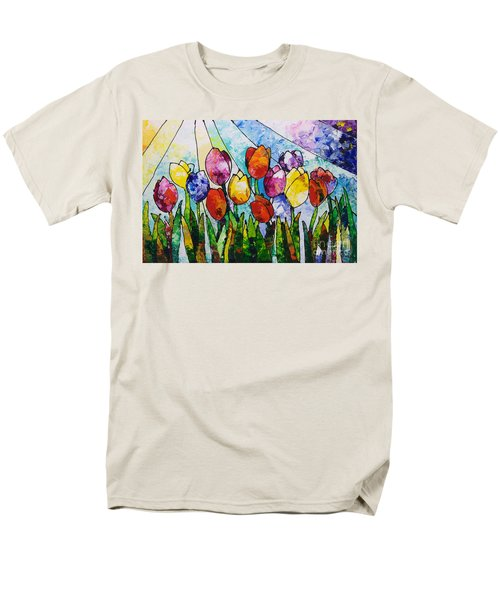 Tulips On Parade Men's T-Shirt  (Regular Fit) by Sally Trace