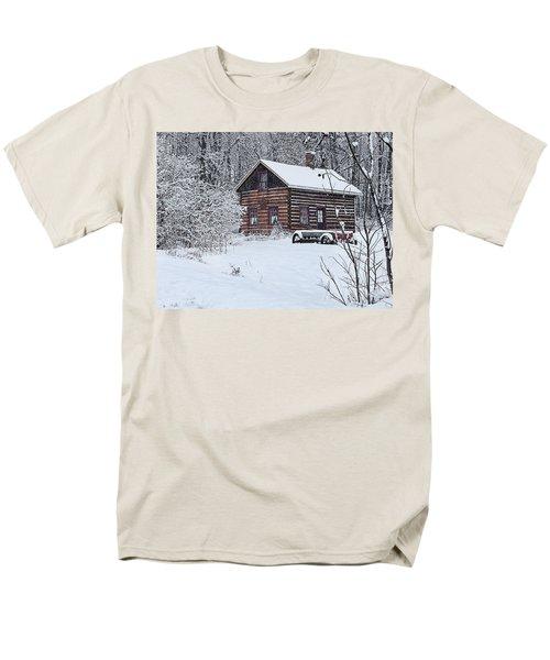 Men's T-Shirt  (Regular Fit) featuring the photograph Winter Cabin by Judy  Johnson