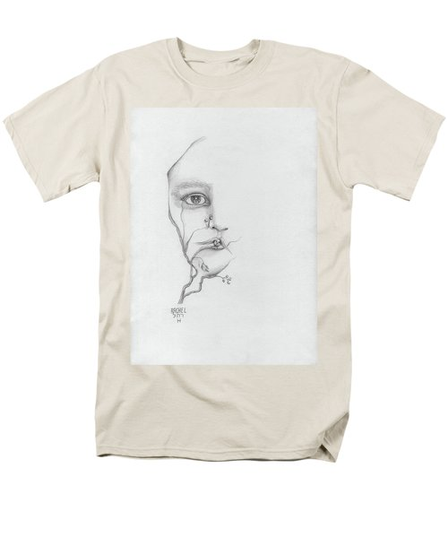 Woman Face Growing Out Of A Tree Branch Black And White Surrealistic Fantasy  Men's T-Shirt  (Regular Fit) by Rachel Hershkovitz