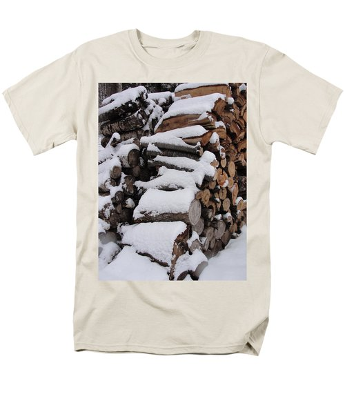 Men's T-Shirt  (Regular Fit) featuring the photograph Wood Pile by Tiffany Erdman