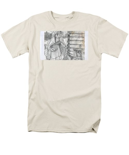 Young Girl Feeding The Chickens In The 1800's Men's T-Shirt  (Regular Fit) by Francine Heykoop